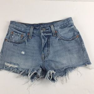 Levi's 501 Button fly Cut Off shorts light wash 24